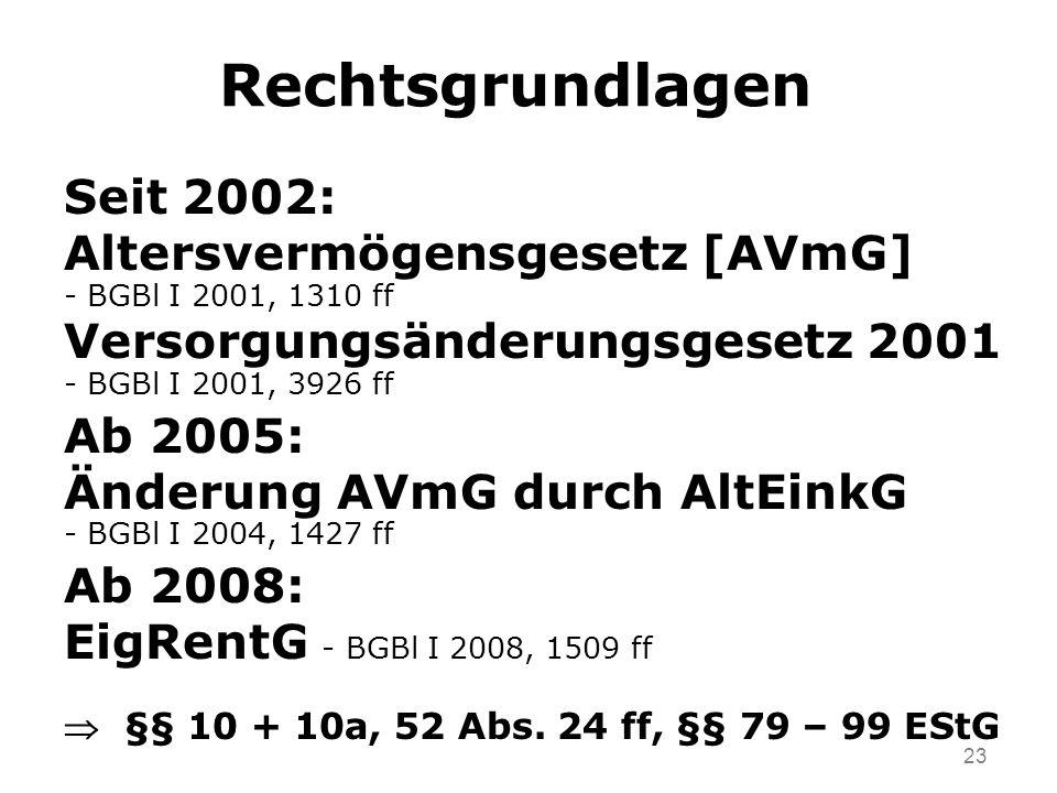 Rechtsgrundlagen Seit 2002: Altersvermögensgesetz [AVmG]